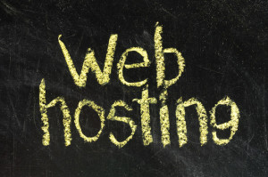 Scool blackboard with WEB Hosting handwritten on it